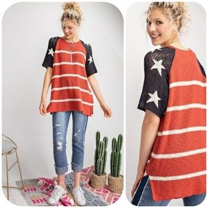 Easel Patriotic Stars And Stripes Knit Top Large